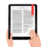 Reading book on ipad computer tablet. Female hands holding touch screen tablet and leafs /read online book Royalty Free Stock Photography