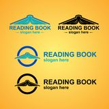 Reading Book Logo Template. Logo with book like a mountain Stock Image