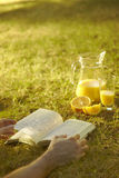 Reading a book outdoors stock photo