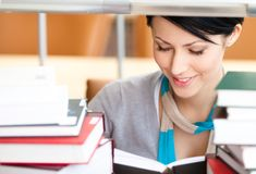 Reading book pretty student Stock Images
