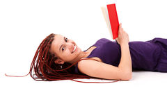 Reading book student girl Stock Photo