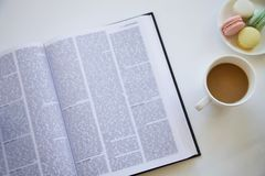 Reading book on table royalty free stock photography