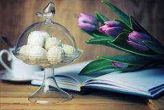 Reading book with tea flower and sweet Royalty Free Stock Photos