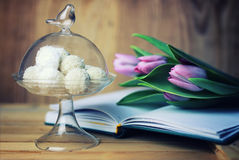 Reading book with tea flower and sweet. Various vintage elements on old worn backgrounds different concepts Stock Photo