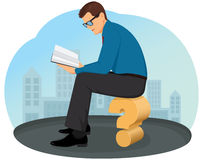 Reading a book. Thoughtful businessman sitting on a question mark and reading a book royalty free illustration