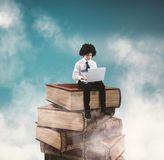 Reading a book on a tower royalty free stock image