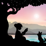 Reading a book under a tree, Vector illustrations Stock Photo