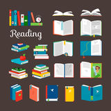 Reading book vector cartoon icons set Royalty Free Stock Photography