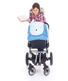 Reading book young mother with baby pram. (stroller), white background Stock Images