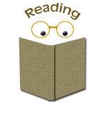Reading books. Eyes reading an open book with glasses poster vector illustration
