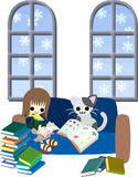 Reading books with a cat. One day of a white winter, A woman is reading many books with a cat Royalty Free Stock Photography