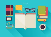 Reading books desktop, set of flat icons Stock Photo