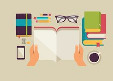 Reading books desktop, set of flat icons Stock Photography