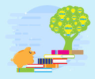 Reading books enriches ideas. Pig piggybank runs on the books to the tree of ideas. Business concept. Flat style Stock Photography