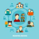 Reading Books Round Composition stock illustration