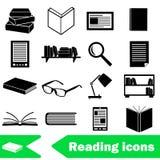 Reading books theme set of simple black icons eps10. Reading books theme set of simple icons Royalty Free Stock Photos