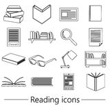 Reading books theme set of simple black outline icons eps10. Reading books theme set of simple black outline icons Royalty Free Stock Image
