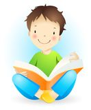 Reading boy. Sitting boy with open book Royalty Free Stock Photo