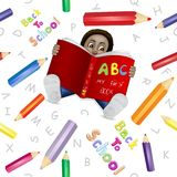 Reading boy with colored pencils pattern. On white background Royalty Free Stock Photos