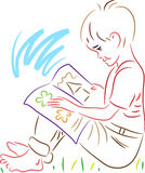 Reading boy. Line art reading boy clip art image Stock Photos
