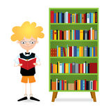 Reading boy near bookcase. Vector colorful illustration of a boy with eyeglasses standing near a green bookcase full of books and reading. The kid wearing black Stock Image