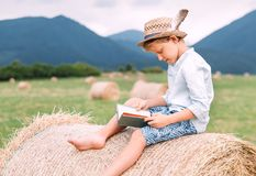 Reading boy sits over the haystack roll on the mountain field Stock Photography