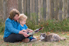 Reading with the cat Stock Images