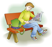 Reading child vector illustration
