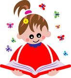 Reading child vector illustration