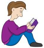 Reading child sitting on the floor Stock Photos