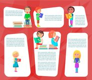Reading Children Sitting and Standing with Books Royalty Free Stock Photos