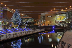 Reading City's Christmas Decoration. Christmas Night View in Reading, South-England Royalty Free Stock Photo
