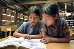Reading class for native Guatemalan Indian girls Stock Images