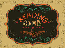 Reading club. Vector illustration with hand-drawn lettering. Reading club inscription for invitation and greeting card, promo card, prints, flyer, cover, and Stock Photography