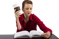 Reading with Coffee Stock Photos