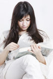 Reading with comfort closeup Stock Image