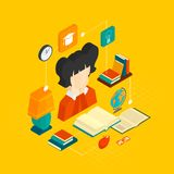 Reading Concept Isometric Royalty Free Stock Photography