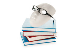 Reading concept with masks, books Royalty Free Stock Photo