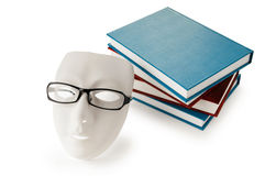 Reading concept with masks, books Royalty Free Stock Photos