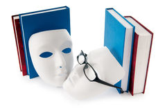 Reading concept with masks, books. And  glasses Stock Image