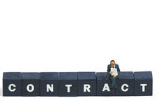 Reading a contract royalty free stock photography