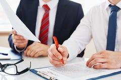 Reading contract Stock Photos