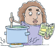 Reading Cookbook. A cartoon woman follows a recipe in a cookbook as she stirs a pot Stock Photography