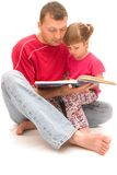 Reading with dad Royalty Free Stock Photography