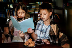 Reading in darkness Stock Images