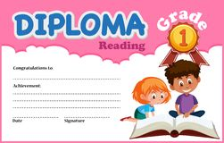 Reading deiploma certificate template stock photography
