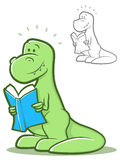 Reading Dinosaur Royalty Free Stock Images