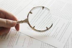 Reading document stock photo