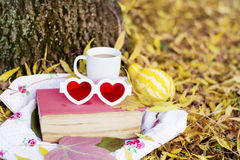 Reading and drinking coffee in the autumn park. Book with reading glasses ans yellow pumpkin in the autumn park royalty free stock photography
