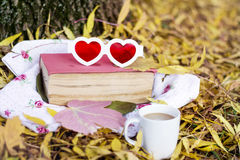 Reading and drinking coffee in the autumn park. Book with reading glasses ans yellow pumpkin in the autumn park stock photography